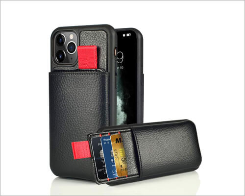 Lameeku iPhone 11 Pro Max Leather Card Holder Case