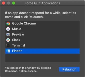 Starten Sie Force Quite auf dem Mac