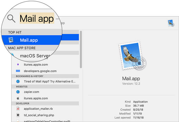 Launch Mail app on Mac