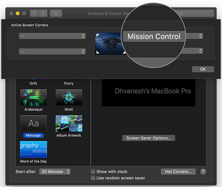 Launch Mission Control from four corners of your Macs screen