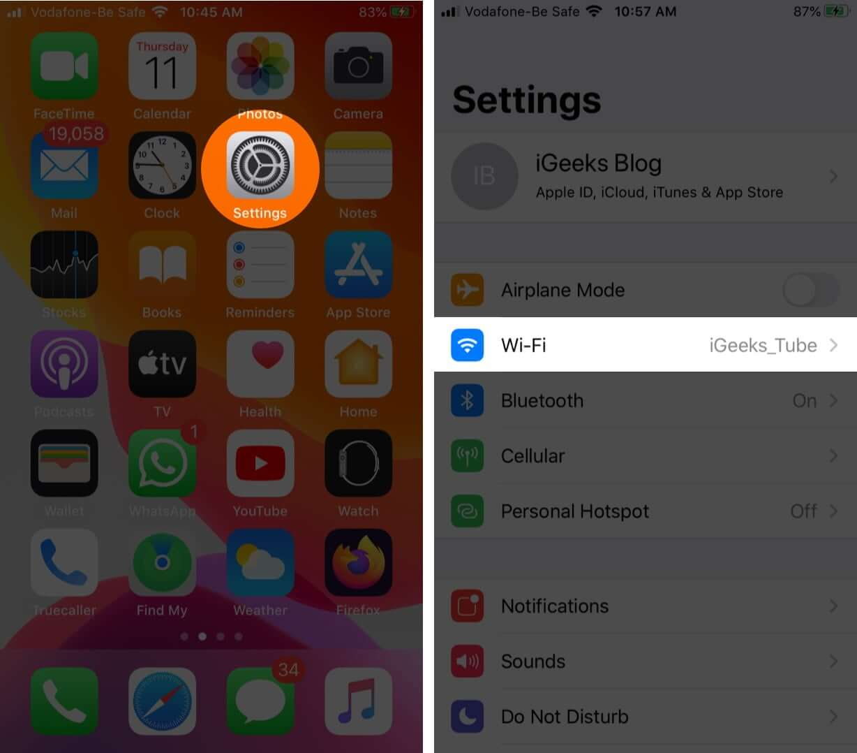 Launch Settings and Tap on Wi-Fi on iPhone