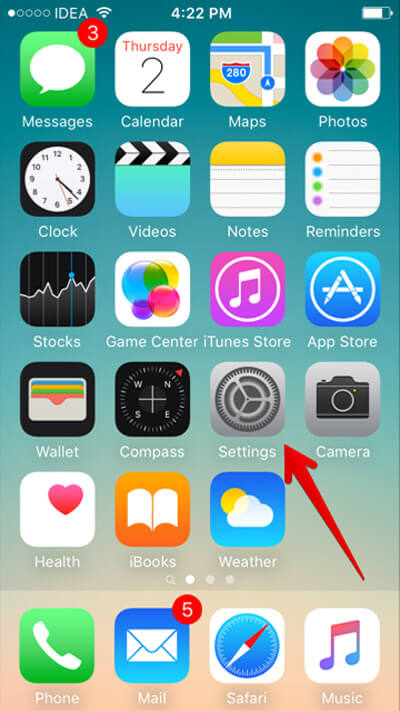 Launch Settings app on your iPhone