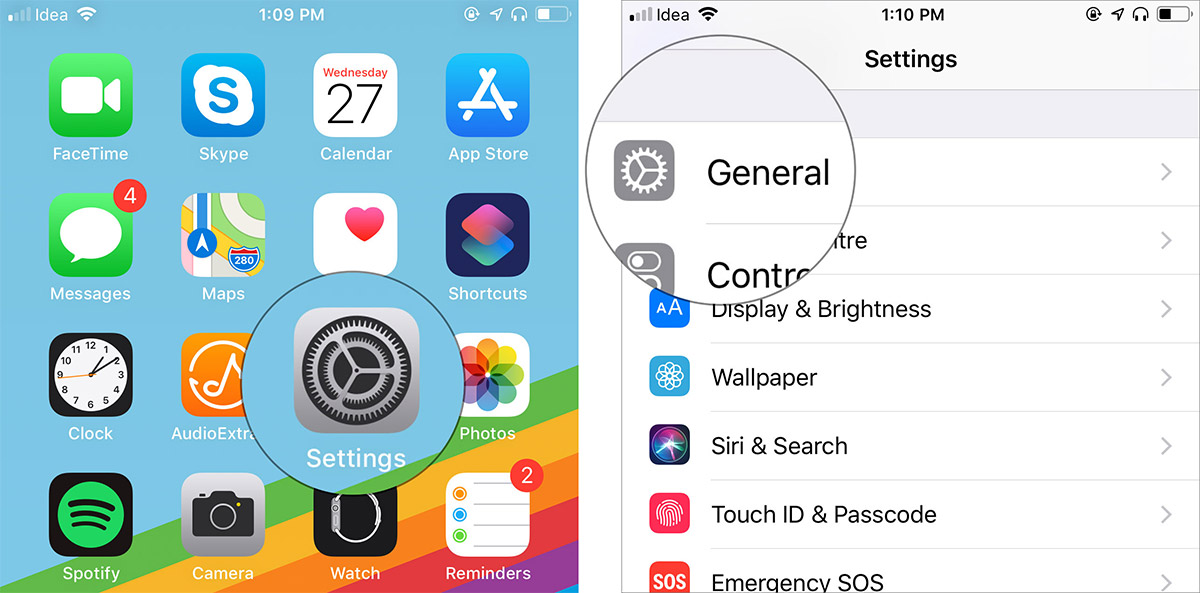 Launch Settings on iPhone and tap on General