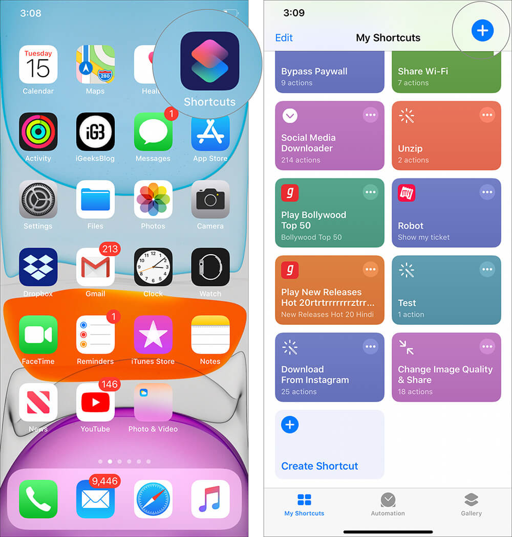 Launch Shortcuts App and tap on plus icon in iPhone