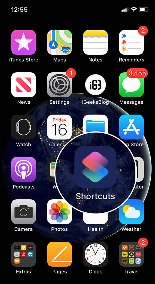 Launch Shortcuts app on iPhone running iOS 13