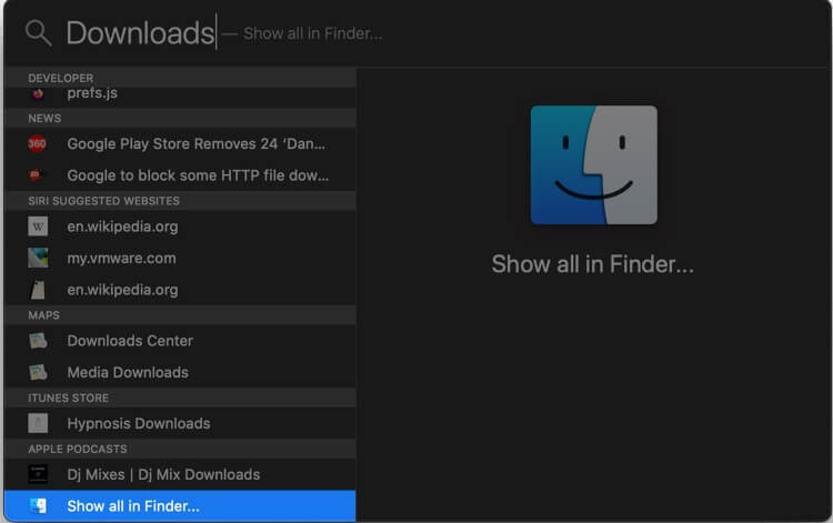 Launch Spotlight Search type folder name then Click on Show all in Finder in macOS Catalina