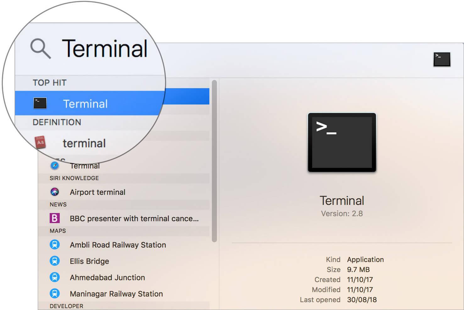 Launch Terminal app on Mac using Spotlight