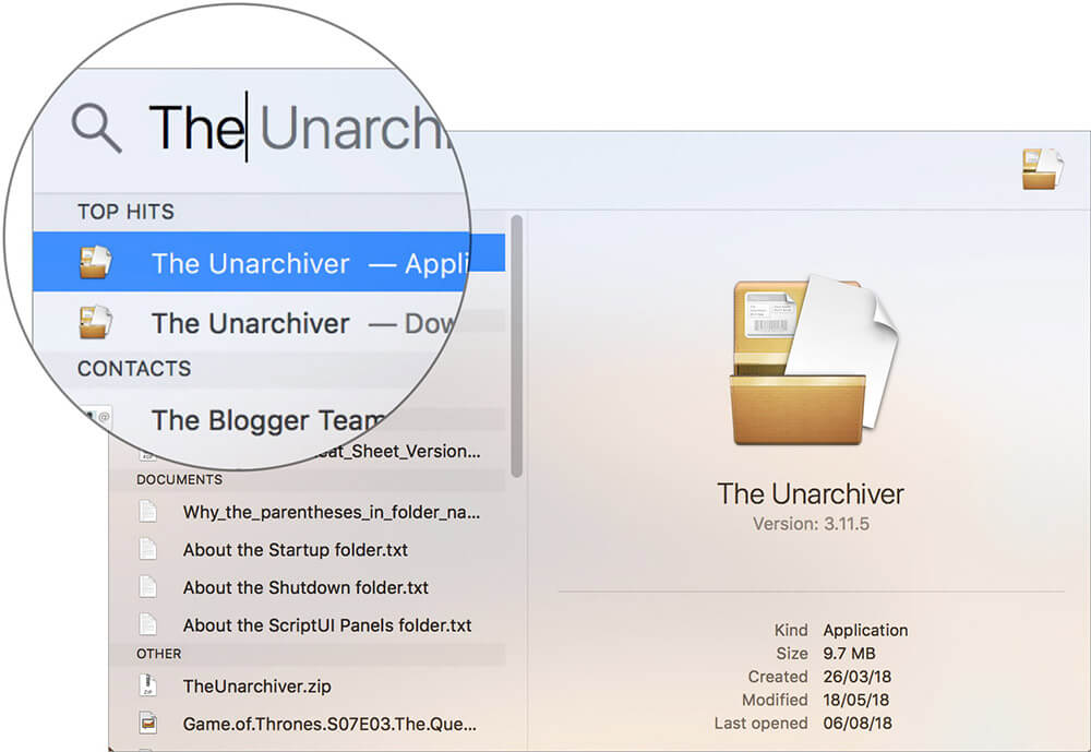 Launch The Unarchiver App on Mac