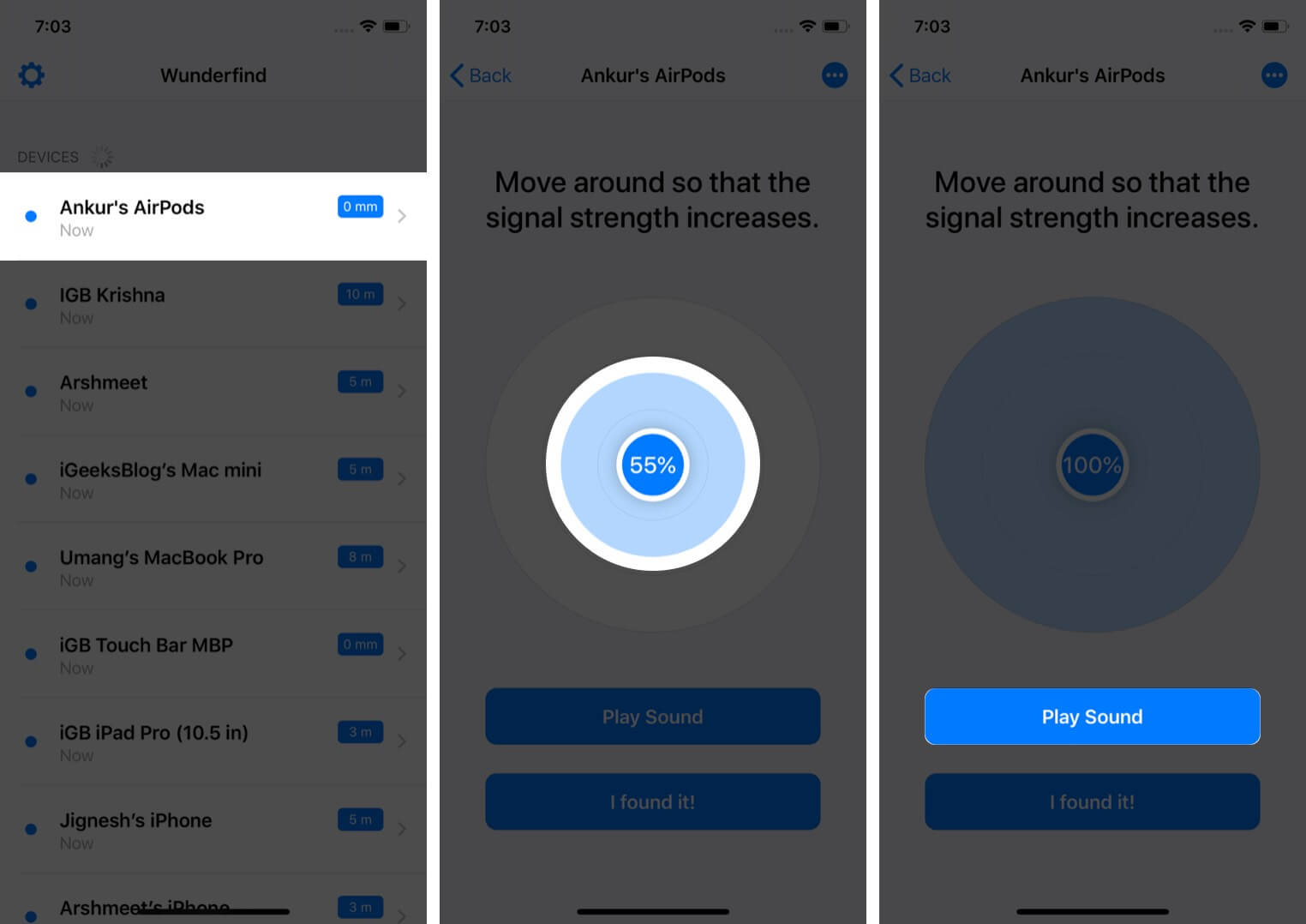 Launch Wunderfind App and Tap on AirPods Name and Then Tap on Play Sound on iPhone