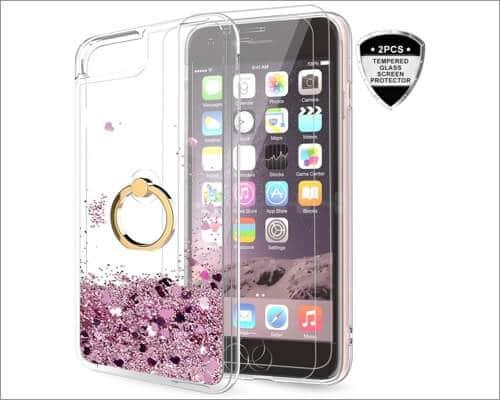 LeYi Glitter Ring Holder iPhone SE 2020 Case for Women