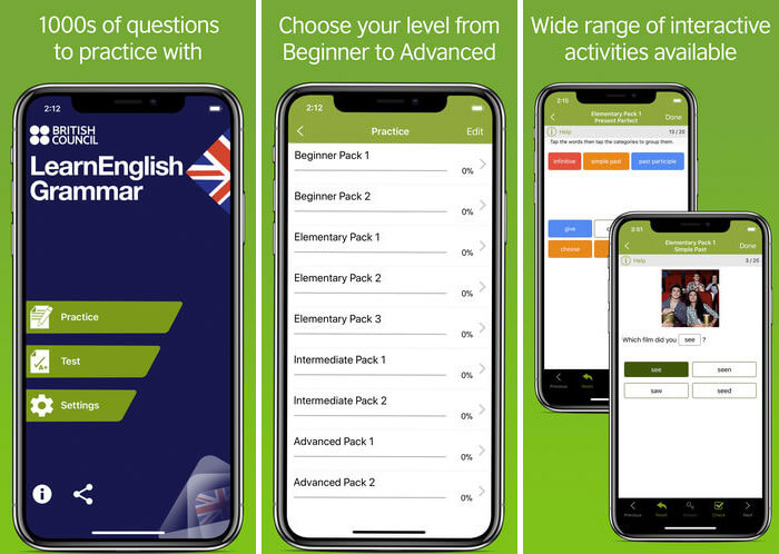 LearnEnglish Grammar iPhone and iPad App Screenshot