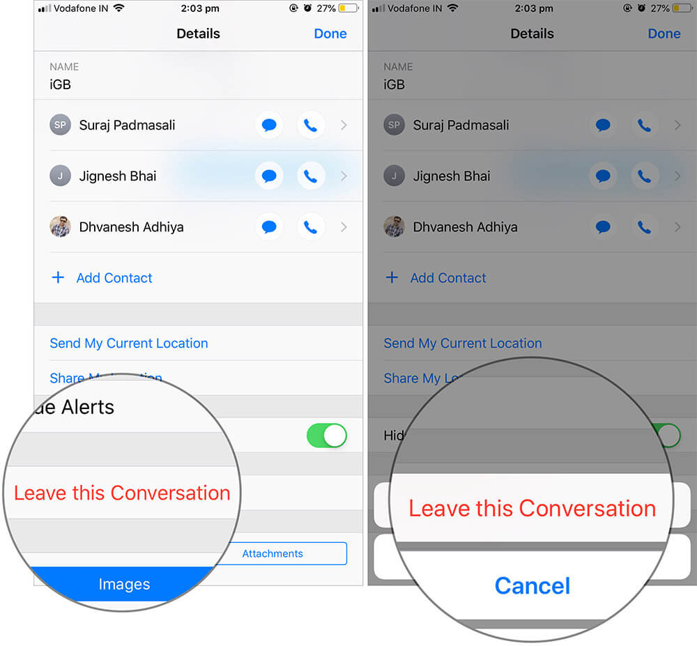 Leave a Group Message on iPhone or iPad
