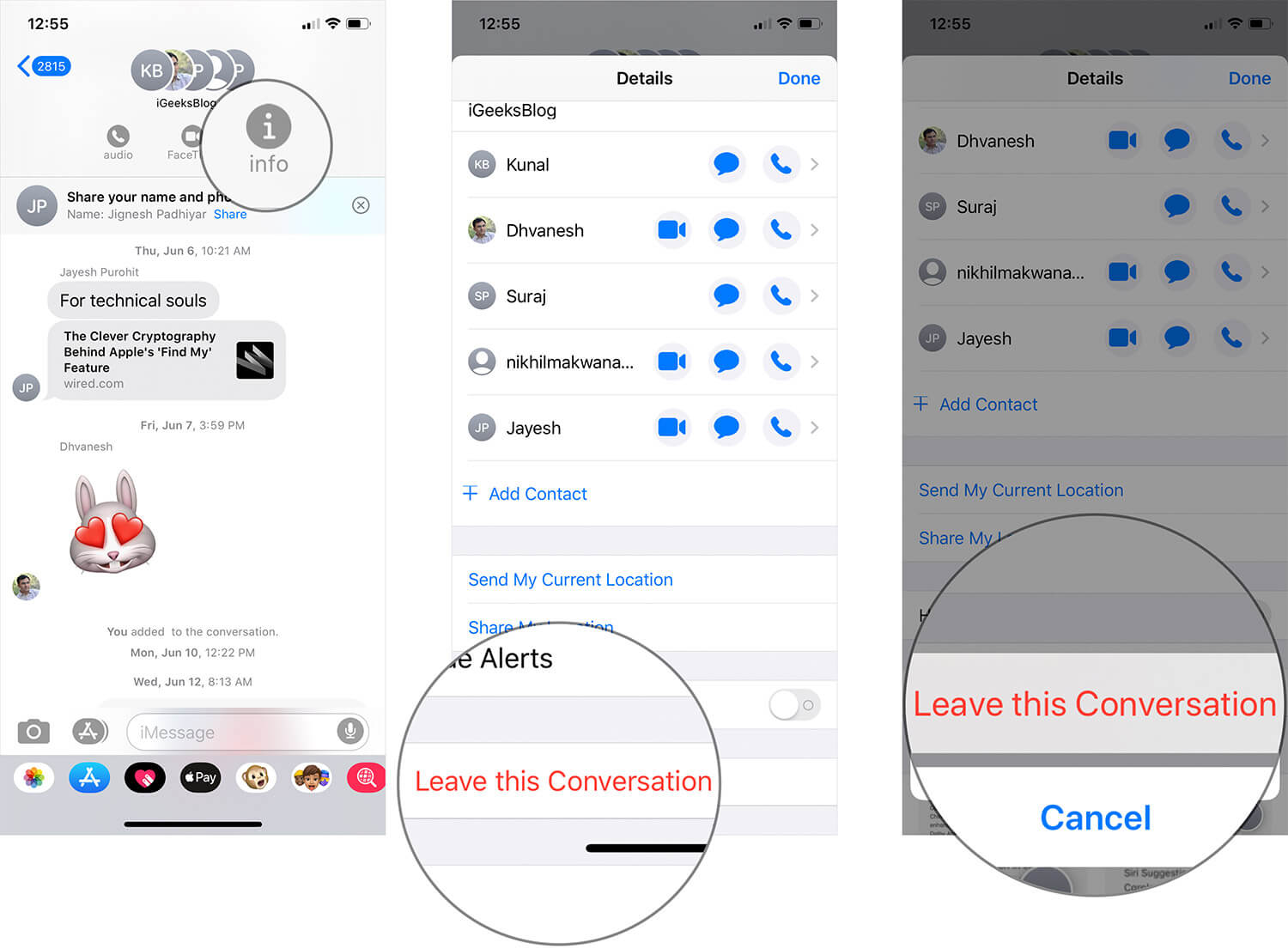 Leave iMessage Group Chat on iPhone or iPad