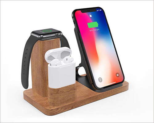 LiZHi Wooden Docking Station for iPhone 11, 11 Pro and 11 Pro Max