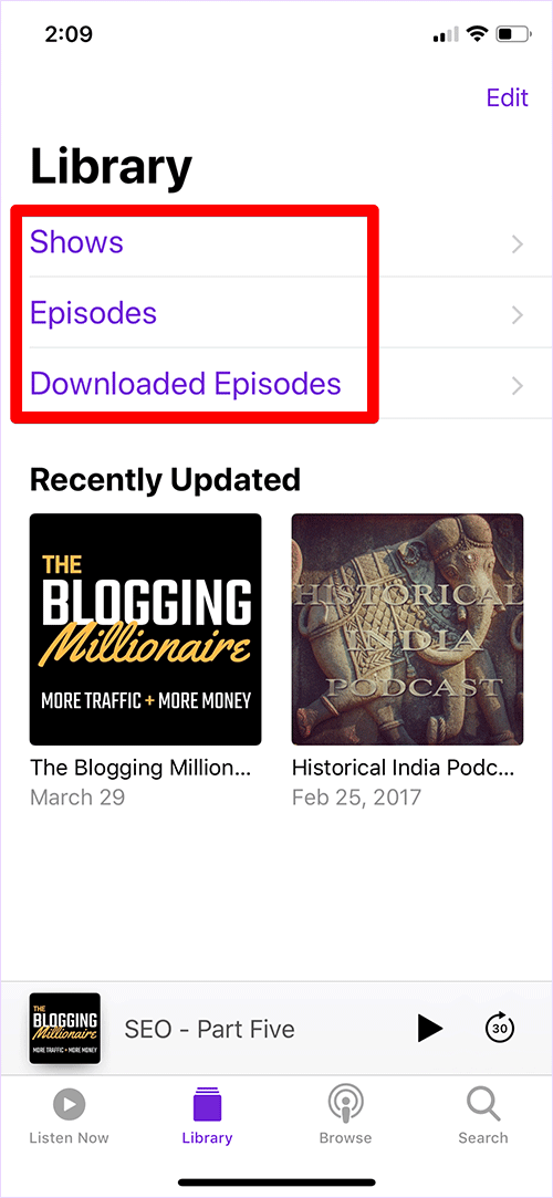 Library Options in iOS Podcasts App