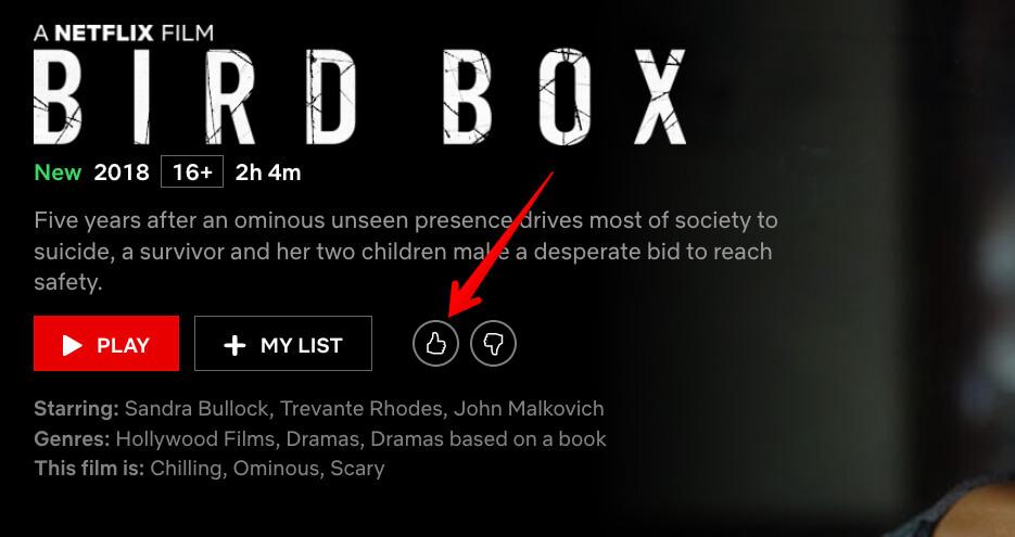 Like or Dislike Movie on Netflix