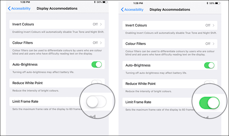 Limit ProMotion Display Refresh Rate to 60FPS on iPad Pro