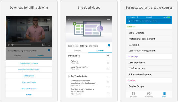 LinkedIn Learning iPhone and iPad Online Course App Screenshot