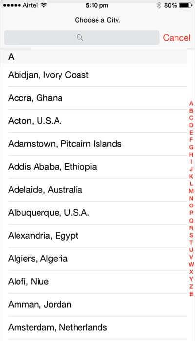 List of Clock Timezones in iPhone
