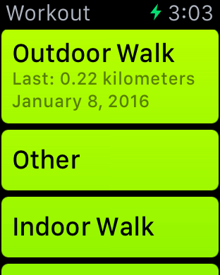 List of Workout Activies on Apple Watch