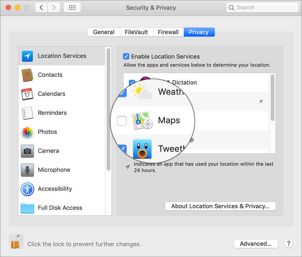 Location Privacy Setting on Mac