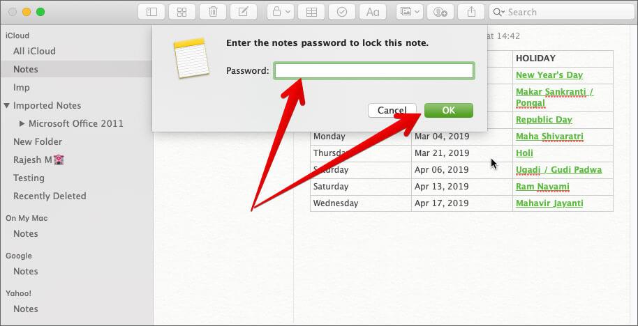 Lock Note on Mac