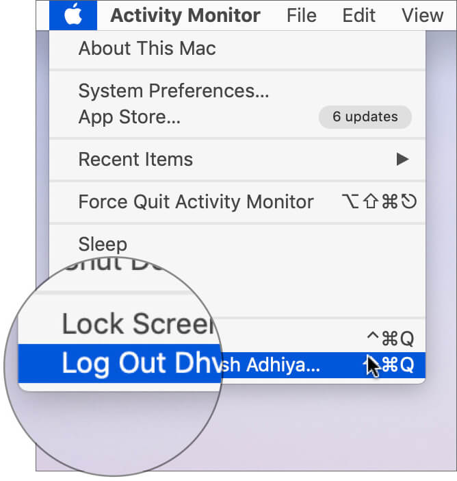 Log Out Mac and Log in Again and Launch Finder