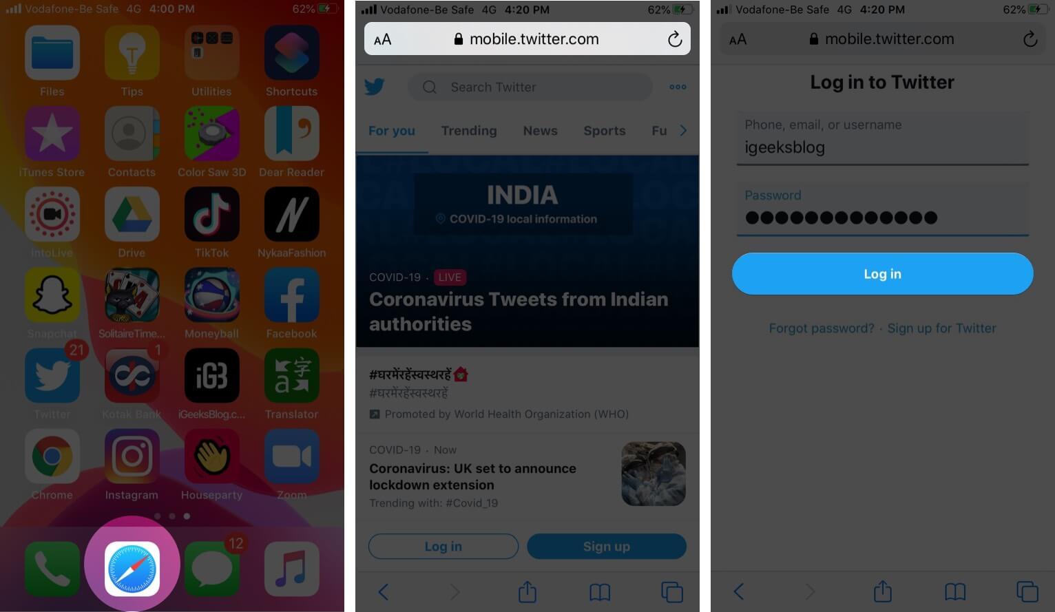 Log in to Twitter Account in Safari on iPhone