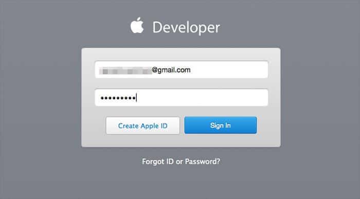 Login to Apple Developer Portal