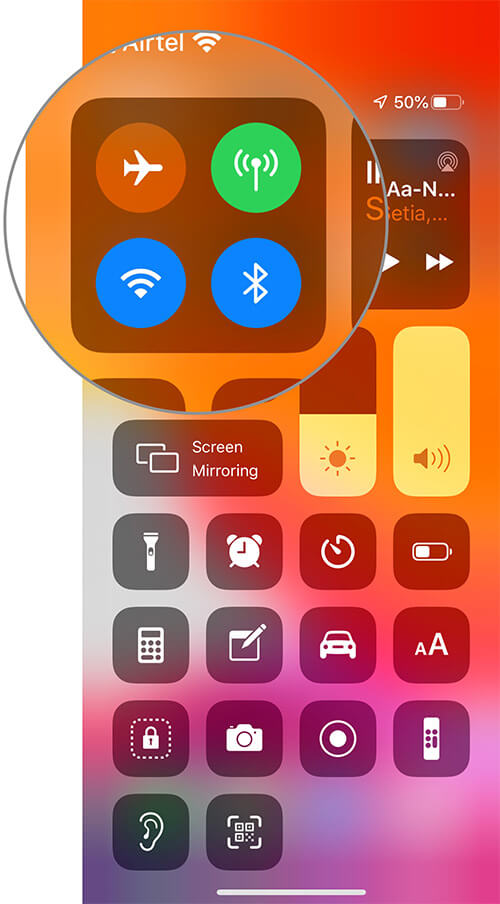 Long press on the four-icon platter in iOS 13 Control Center