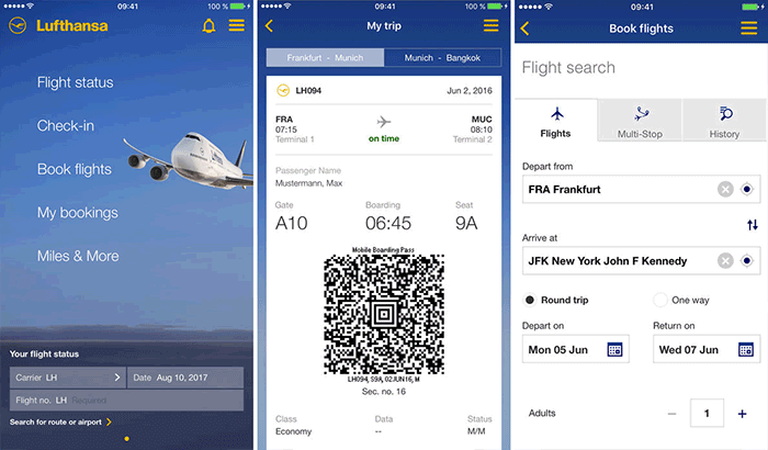 Lufthansa iPhone App Screenshot