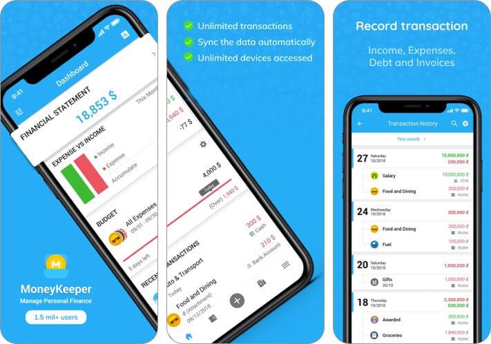 MISA MoneyKeeper Expense Tracker iPhone and iPad App Screenshot