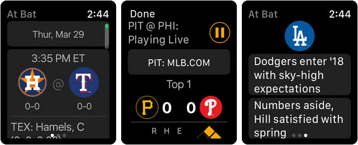 MLB At Bat Apple Watch Sports App Screenshot