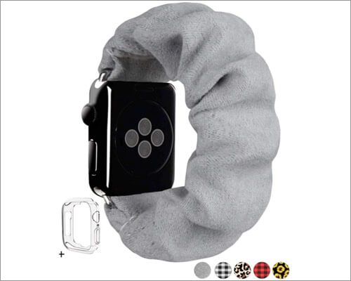 MONOBLANKS Faux Suede Scrunchie Strap for Apple Watch