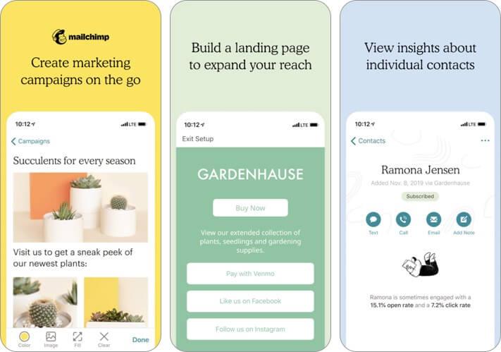 Screenshot der Mailchimp Marketing Blogging App