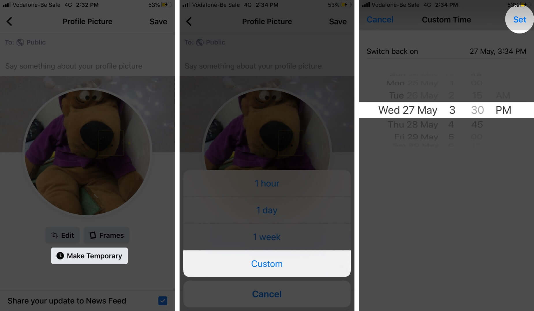 Make Temporary Profile Picture on Facebook From iPhone