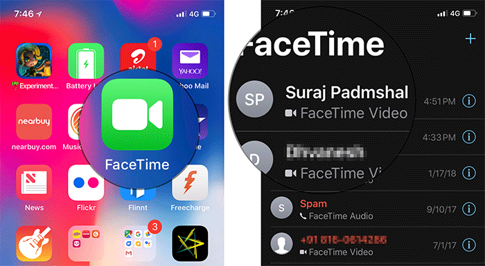Make a FaceTime Call on iPhone X