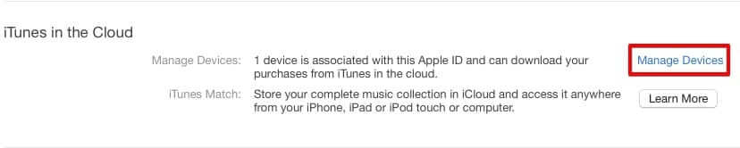 Manage Devices on iTunes