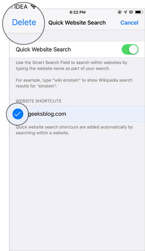 Manage Quick Website Search Shortcuts in Safari on iPhone and iPad