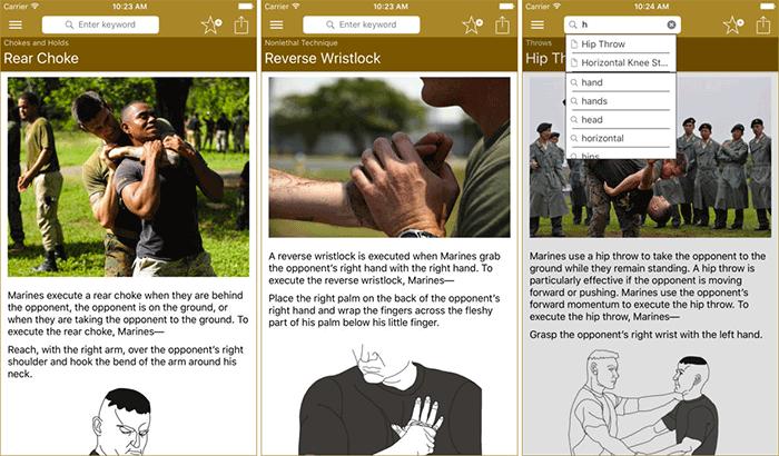 Marine Martial Arts Self-Defense iPhone App Screenshot
