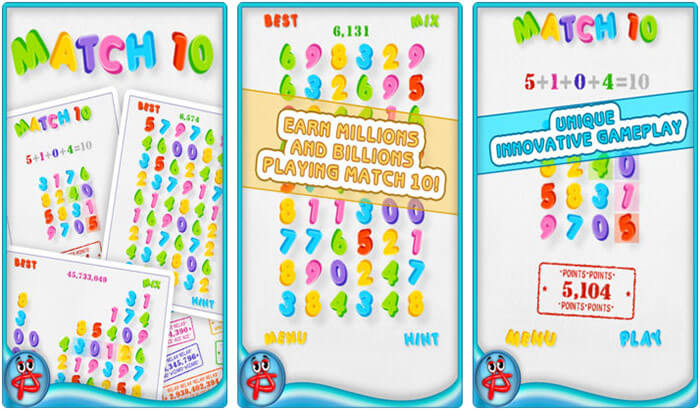 Match 10 iPhone and iPad Math Puzzle Game Screenshot