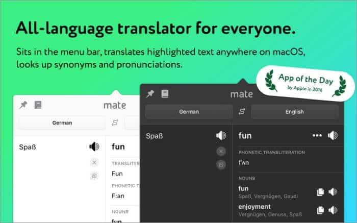 Mate - Universal Tab Translator Mac App Screenshot