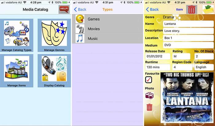 Media Catalog iPad App Screenshot