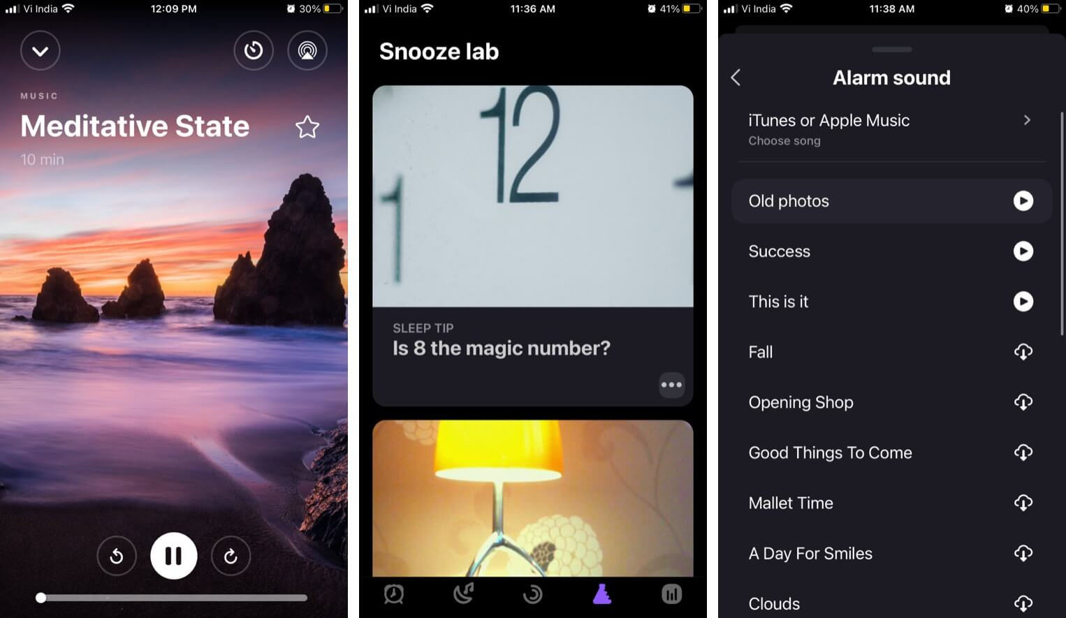 Meditation sessions stories soundscapes features in Pillow iPhone