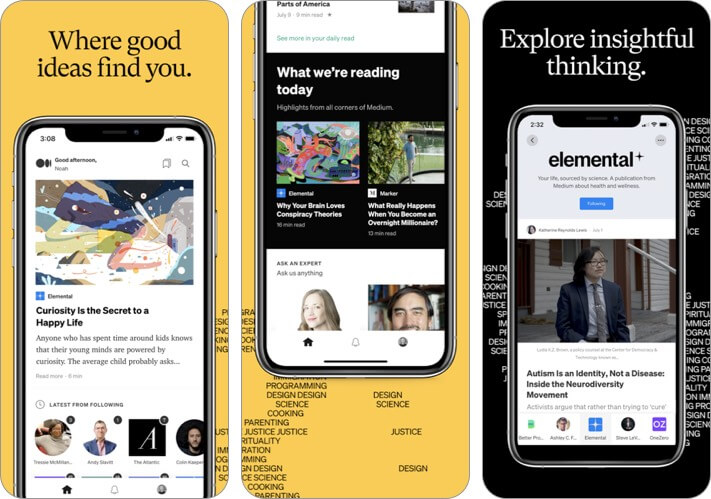 Medium blogging app screenshot