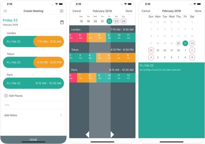 Meeting Planner Time Converter iOS App Screenshot