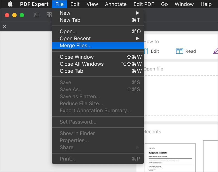 Merge PDF Files on Mac using Menu Option