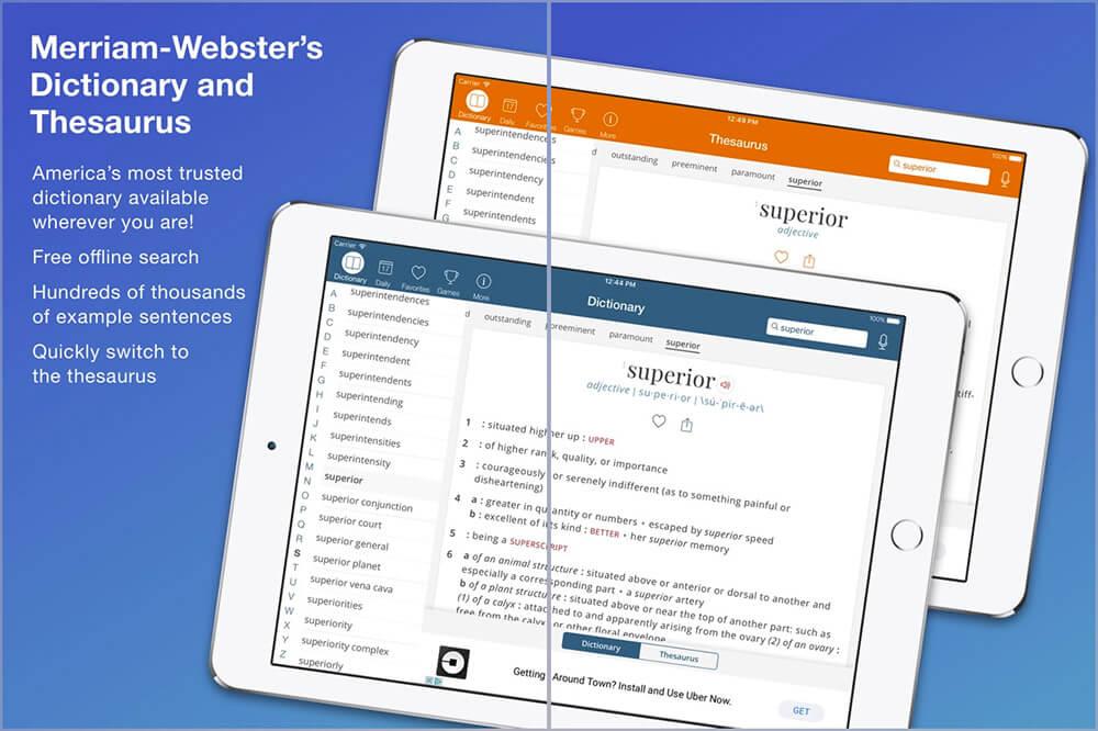 Merriam Dictionary iPad and iPhone Thesaurus App Screenshot
