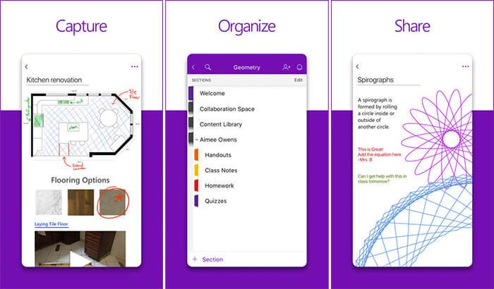 Microsoft OneNote iPhone and iPad Note Taking App Screenshot
