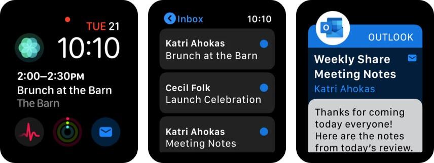 Почтовое приложение Microsoft Outlook для Apple Watch